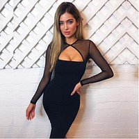 Women Bodycon Fashion Hollow Long Sleeve Perspective Gauze Stitching Dress