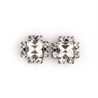 SILVER SQUARE VINTAGE STUD - Earrings - Jewelry