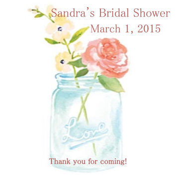 Mason Jar Personalized Bridal Shower Thank You Tags