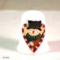 Collectible Thimbles, Handmade Thimbles, Thimble Collection, Holiday Thimble, Christmas Thimble, Snowman Thimble