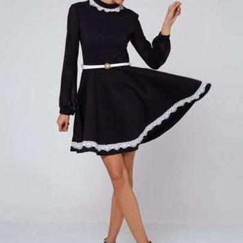 Lace Color Block Lantern Sleeve Women'S Long Sleeve Dress (Plus Size Available)