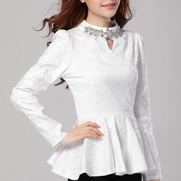 Floral Lace High Neck Long Sleeve Peplum Top