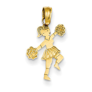 14k Cheerleader with Pom-Poms Pendant C3552