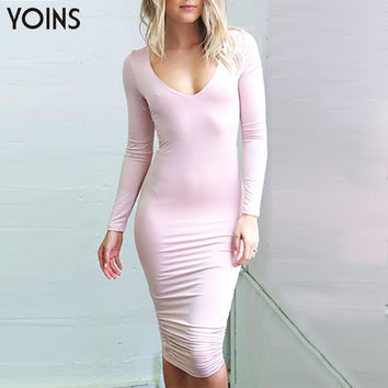 New Women Long Sleeve V-neck Back Hollow out Midi-length Knee Fashion Sexy Slim Summer Autumn Dress
