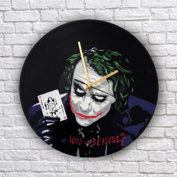 Joker painted vinyl record clock