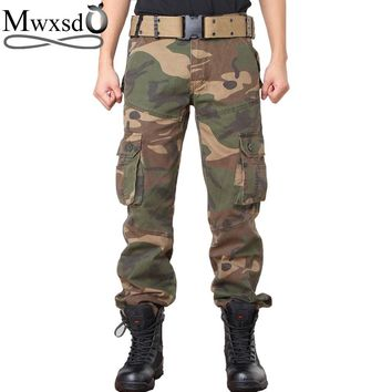 Mwxsd brand men cotton tactical cargo pants Camouflage mens Casual Military Army pants Male jogger Pants