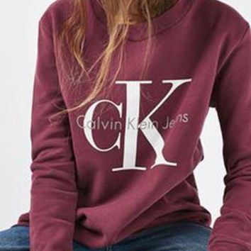 Calvin klein Jeans Fashion Long Sleeve Pullover Sweatshirt Top Sweater Burgundy I
