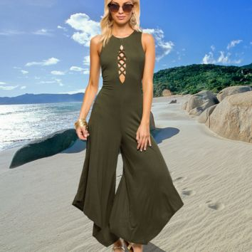 Womens Army Green Jumpsuit