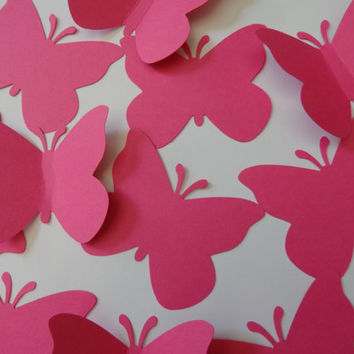 Large Hot Pink/Watermelon Butterfly die cuts-Butterfly Punch, Paper Butterfly, Butterfly Decorations,Wedding Die Cuts-set of 50