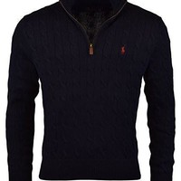 Polo Ralph Lauren Men's Cable-Knit Half-Zip Mock Neck Sweater Pullover