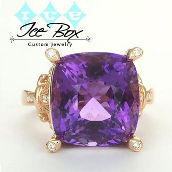 Amethyst Engagement Ring 6.5ct, 13 x 14mm Cushion Cut Amethyst  in a 14k Rose Gold Diamond Fleur De Lis setting