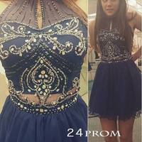 Dark blue beaded Short Prom Dresses, Homecoming Dresses