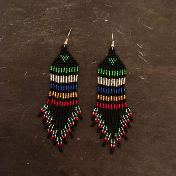 Striped Native American beaded Fringe earrings, Minimalist, Seed bead earrings, Green, red, royal blue, silver, black, gold, Glass, Navajo