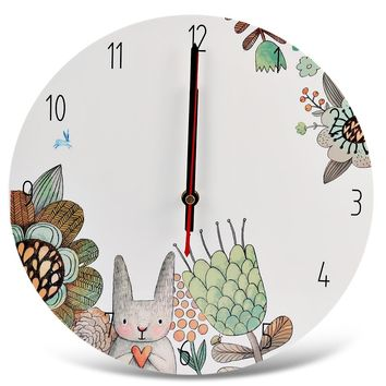 Bunny And Flowers Wall Clock Home Art Decor