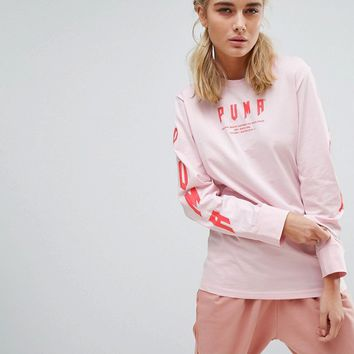 Puma Exclusive To ASOS Oversized Long Sleeve T-Shirt In Pink at asos.com