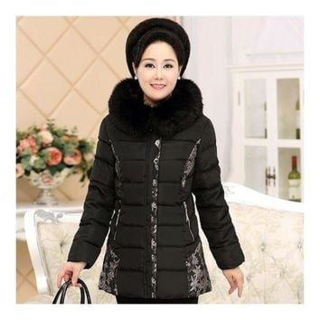 Woman Winter Mom Apparel Middle Long Cotton Coat   black