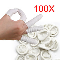 100pcs Finger Cots Nail Art Latex Fingertips Protective Small Rubber Gloves Practical Disposable Anti Static