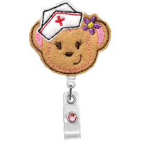 Get Well Monkey Nurse  - Nursing Badge Holder - Pediatric Nurse Badge Reel - Pensacola RN nurse -Cute retractable Badge holder