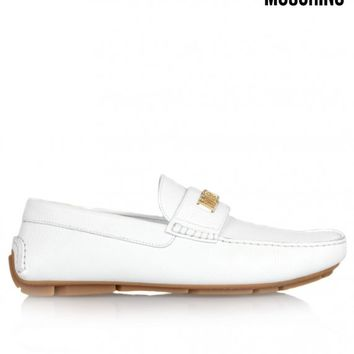 MOSCHINOMOCCASIN LEATHER LOAFER - WHITE