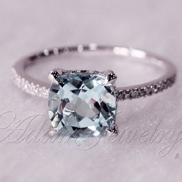 Custom Ring Set for Megan Marshall 14K White Gold 8mm Cushion Cut VS Aquamarine Ring With Diamonds Matching Band
