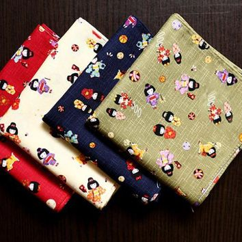Good quality Japanese handkerchiefs,Puppet design,100% cotton Thicken fabric,Male and female General pocket squares hankerchief