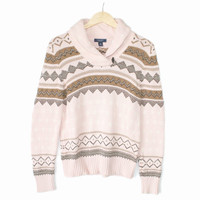 Shawl Collar Light Pink Nordic Ugly Ski Sweater