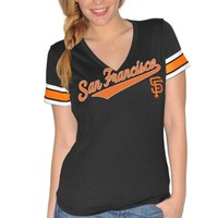 San Francisco Giants Ladies Cooperstown Collection V-Neck T-Shirt - Black
