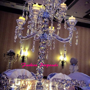 "Lavish Crystal Candelabra 33"" inches tall wide with 9 arms and hanging crystals. Lavish candelabra wedding centerpiece set of 2"