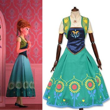 LMFUS4 Halloween Costume for women Princess anna cosplay costume adult white snow fever party dresses movie costume girl fancy dress