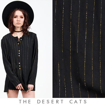 vintage 80s cardigan vintage 1980s boho goth black and gold button down cardigan Expired