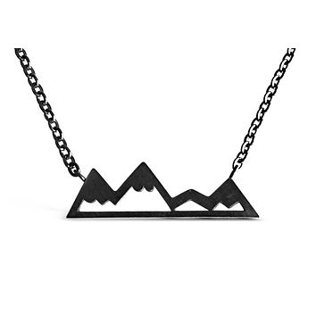 Carbon Black Mountain Range Necklace