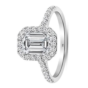 .2.5 Carat GIA Certified 14K White Gold Halo Emerald Cut Diamond Engagement Ring (2 Ct I-J Color VS1-VS2 Clarity Center)