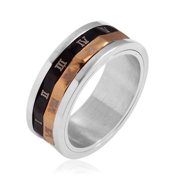 ION Plated YG, Black and Stainless Steel Roman Numeral Spinner Band Ring