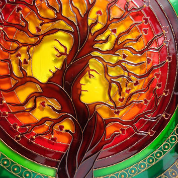 Tree art Family tree art Love tree Glass painting Painted glass Tree of life art Wall decor