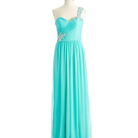 Xscape One Shoulder Beaded Gown