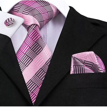 Men's Silk Coordinated Tie Set - Pink Striped