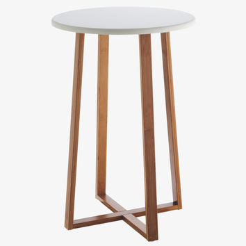 DREW NATURAL Lacquered Bamboo and white lacquer tall side table - HabitatUK