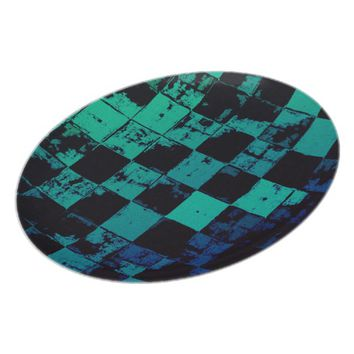 Grunge squares, black and green bricks pattern dinner plate