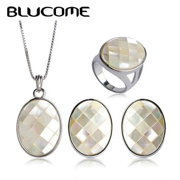 Women's Abalone Shell Jewelry Sets.  Necklace, Earrings and Ring.    Available in Silver Blue, Gold Blue, Silver White and Gold White.   Ring Sizes 6 to 10.  ***FREE SHIPPING***