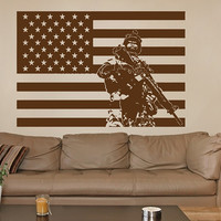 kik733 Wall Decal Sticker  US Army soldiers military special weapons squad American flag vest living room bedroom