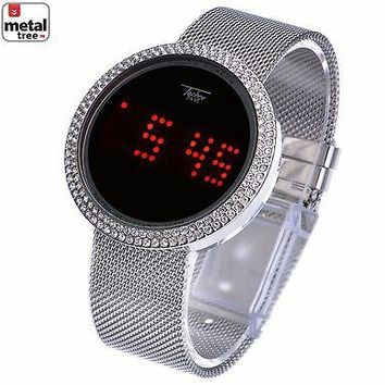 Jewelry Kay style Men's Techno Pave Iced Out Digital Touch Screen Mesh Metal Band Watch WM 8246 S