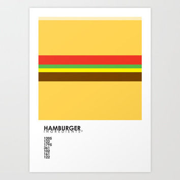 Pantone Food - Hamburger Art Print by Budi Satria Kwan