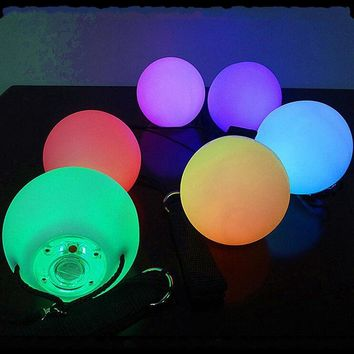 Pro Flashing LED Multi-Coloured Glow POI Thrown Balls Light up For Professional  Belly Dance Hand Props Waterproof