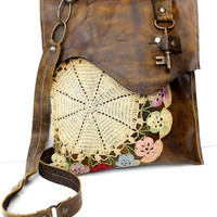 Boho Leather Messenger Bag with Multi-Colored Crochet Doily and Antique Key - Medium - One Of A Kind