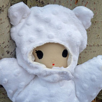 Awake/Asleep Soft Baby Doll: Two Sided Reversible with Bear Hat and Pajamas