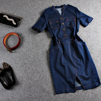 Casual Blue V-Neck Denim Button Down Bodycon Slit Mini Dress With Belt