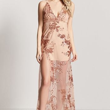 Sheer Sequin Maxi Dress