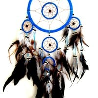 Turquoise Feather Bead 28 Inch Boho Dreamcatcher