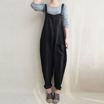 Summer ZANZEA Women Rompers Strappy Pockets Cotton Linen Long Jumpsuits Casual Solid Dungarees Loose Bib Overalls Plus Size