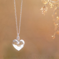 Heart Necklace - Sterling Silver, Wire Wrapped, Swarovski Clear Crystal, Love, Simple, CHN-096, Free USA Shipping